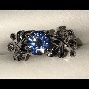 Size six tanzanite silver vine ring
